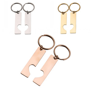 Stainless Steel Rectangle Left and Right Love Set Tag Keychains Couple Keychain for Bag Handbag Car Pendant Charm Keyrings