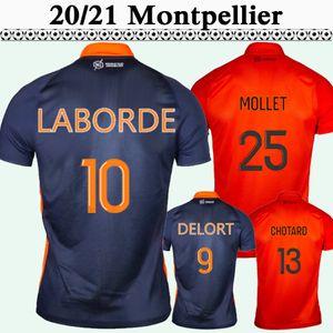 20 21 Montpellier Laborde Hommes Soccer Jerseys Nouveau Delort Savanier Hilton Home Blue Away Football Shirt Chotard Mollet
