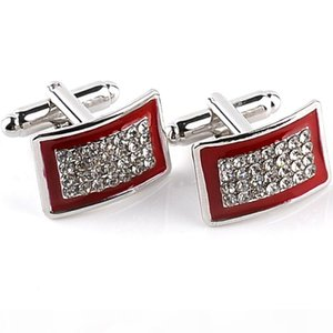 2016 New Simple Style Crystal Rectangle Cufflinks Mens Shirt Cuff Button Christmas Gifts for Men Laser Plating Cuff Links Gemelos 6
