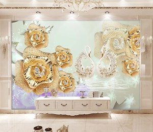 Fashion Exquisite Golden Rose Swan 3D Stereo Photo Murals Wallpaper Living Room Bedroom Hotel Luxury Background Wall Decor