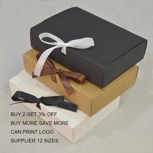 10pcs Kunden-Geschenk-Kasten Kraft Große Geschenk-Verpackung-Box mit Band Weiß Geschenk-Verpackung Boxen Karton Papier Karton T200827