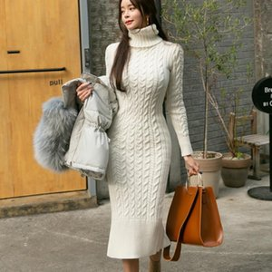 Casual Dresses 2021 Spring Autumn Sweater Dress Women Sexy Slim Bodycon Female Turtleneck Long Sleeve Knitted Vestidos DS85