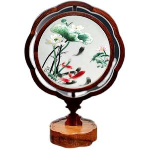 Старинные китайские Настольная лампа Главная украшения Спальня Украшение для чтения Настольные лампы Шелковый Handwork Вышивка Двойные Узоры с деревянной рамой