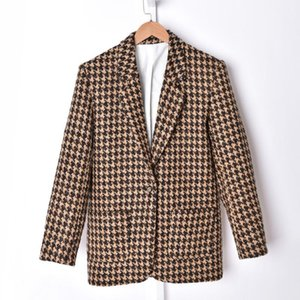Plaid Wild Ladies Blazer Single Button Autumn Coat Houndstooth Long Sleeve Notched Women Casual Suit Or Metal Buttons Mini Skirt