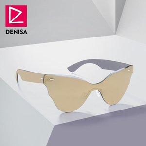 선글라스 Denisa Frameless 원피스 렌즈 고양이 아이 여성 음영 2021 트렌디 한 무변한 카테이 안경 골드 Gafas de Sol Mujer G8005