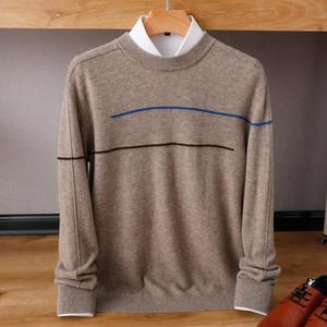 O-cuello BELIARST 2020 otoño e invierno el nuevo 100% de lana punto de los hombres de moda jersey de punto a rayas grande suéter de cachemira