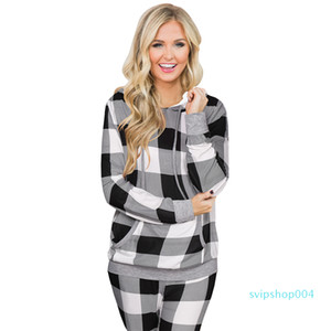 Autumn winter Christmas plaid print hooded drawstring big pocket jumpsuit trousers suit women Loungewear set Christmas gift for girl
