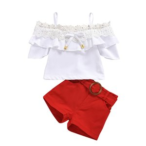 Lace Ruffle Girl's Set Tops+pants Strapless Sling Children 2pcs Set Gift Belt Cute Fashion Summer Kids Suits 80 90 100 110 120