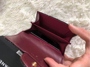 Porte-cartes en cuir véritable poche nouvelle peau d'agneau Flap Mini Card matelassée Portefeuilles Femme Sacs à main Holder féminin Fashion Coin Pouch boîte wiht