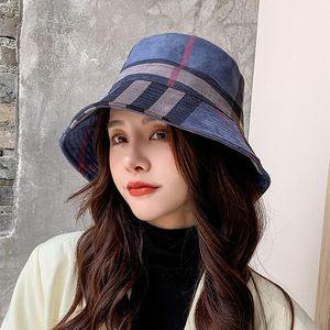Новый стиль для осени и зим многоцветного Fisherman Hat Женской Корейского Стиль замша Bucket Hat Повседневные Складные Теплые моды