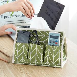 Tissue Boxes & Napkins Japan Style Cotton Linen Case Creative Canvas Remote Control Sundry Basket Multi-purpose Six Bag Paper Box Desktop