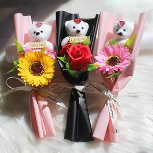 Bear Rose Flower Decoraciones de boda Decoraciones de la boda Día de San Valentín Regalo Jabón Flor Flowers Flowers 6 Estilo XD24082