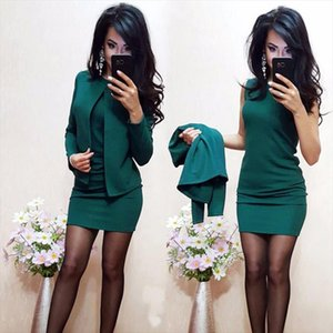 2019 Ladies Dress Suit For Work Full Sleeve Blazer Sleeveless Dress 2 Pieces Set For Businesss Women Suit