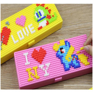 toy bricks stationery box pencil cases for children boys girls creative building block school stationery holder for kids promotional VTu8G