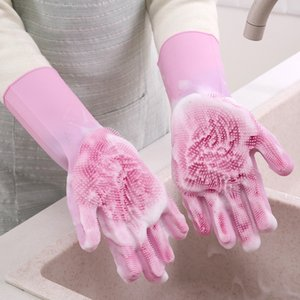 Durable wash gloveMagic silicone dishwashing gloves kitchen accessories waterproof dishwashing gloves household cleaning tools car pet brush
