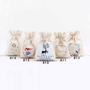 16*23.5cm Large Organic Heavy Canvas Bag 2020 HOT Christmas Gift Santa Sack Drawstring With Reindeers Claus Bags for kid