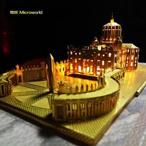 Microworld St. Peter's Basilica Cattedrale Cattedrale di Metallo 3D Puzzle FAI DA TE Assemblato edificio Modello Uomo Regalo Hobby Collezione Gold Silver Y200421