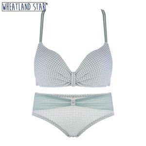 Criss Cross Nahtlose und Slip Wheatland Star Damenunterwäsche Drei Hook-and-Eye Trendy BH Set Y200415