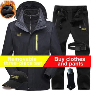 Invierno juego de esquí paño grueso y suave forro de la chaqueta de senderismo senderismo pantalones de los hombres de la capa térmica traje de alpinismo impermeable al aire libre a prueba de viento