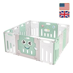Stock in US UK Fordable Baby 14 Panel Playpen Activity Safety Play Yard Foldable Portable HDPE Indoor Outdoor Playards Fence