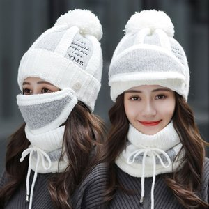 Sets 3 Hats Women Winter Knit Beanies Hat with Bib and Mask Female Ear Protection Skullies Hat Warm Velvet Thick Riding Wool Cap 201008
