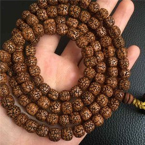 Nepal 108PCS Old Oiled Rudraksha Bodhi Seeds Beads Tibetan Meditation Prayer Mala for Man BRO576 200930