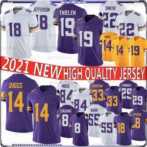 19 Adam Thielen 14 Stefon Diggs 2021 Maglie di calcio 22 Harrison Smith 8 Kirk Cousins 84 Randy Moss 33 Cook Hughes Hunter Barr 18 Jefferson