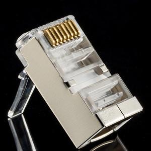 Süper Kategori 6 Örtülü Demir Shell RJ45 Kristal Kafa Hub Genişbant Anahtarı Gigabit Ağ Kablo Bağlantı