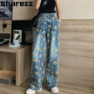 Sharezz pour les femmes en vrac bleu taille haute Baggy Casual New Jeans grande taille Imprimer droite Pantalon large jambe