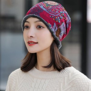 2020 Winter-Hut-Frauen plus Samt Beanie Cap Print Warm Red Fashion Gorro Caps Soft-Bonnet
