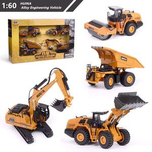 Huina 1:60 Diecast Metal Modelo Dump Truck Escavadeira Roda Loader Road Right Roteiro Construção Veículo Para Coleção X0102