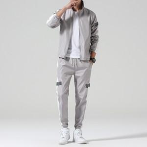 Men Sportswear Set Spring Autumn Hoodies Set Mens Tracksuit Patchwork Hip Hop Sweatshirt+pants Male Casual Two Pieces Track Suit 201014