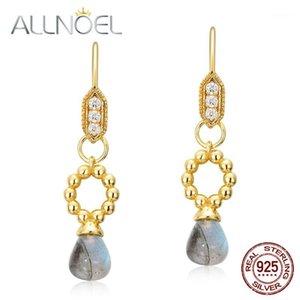 Allnoel 925 Sterling Silber Schmuck Ohrringe Natürliche Labradorite Zirkon Diamantohrringe für Frauen Hochzeitsmarken Neu1
