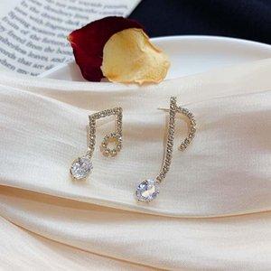 Origin Summer Creative Bling Bling Rhinestone Note Dangle Earrings for Women Delicate Asymmetric Earrings Party Hot Jewellery