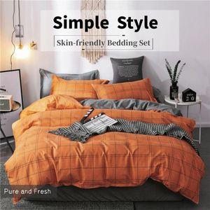 Orange Bed Set Plaid Strip Nordic Bed Cover Duvet Cover Sheets Man Bedding Sets Autumn Winter Linen 200x220