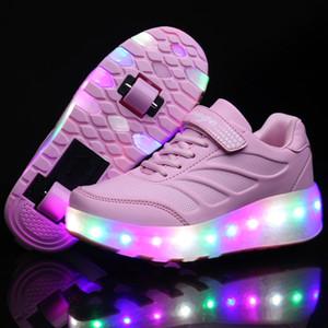 com rolo Sneakers 2020 Duplo duas rodas Luz LED Skate Casual Shoe Lover Boy menina Zapatillas Zapatos Con Ruedas