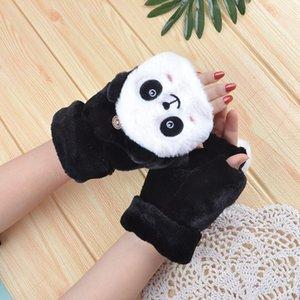 Winterhandschuhe Frauen Cartoon Nette Panda Coral Fleece Fingerlose Handschuhe Studentin Warm Half-Finger Mitte Guantes