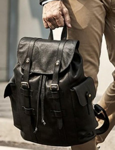 Backpack Tamier Toile Macassar Christopher PM MAN Backpack Leal Leather Bland الرجال حقيبة الظهر