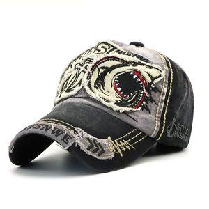 2021 Sombreros de estilo Primavera Autumn Sombrilla de sombrilla Hombres y mujeres Trend Tiburón Personalidad Tapa de béisbol lavado europeo