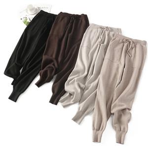 BYGOUBY Kadınlar Elastik Bel İpli Pantolon Kalın Örme Harem Pantolon Sonbahar Kış sporları Kadın Pantolon yemin Yeni Bottoms 201012