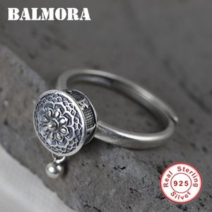 BALMORA 100% Real 925 Sterling Silver Buddhist Rings For Women Lady Rotating Ring Tibetan Prayer Mantra Ring Good Luck Ring Gift 201026