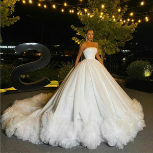 Arabic Ball Gown Wedding Dresses Strapless Ruffles Tulle Sweep Train Church Vestidos De Novia Custom Made Sweep Train Country Wedding Dress
