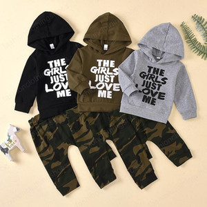 Baby Camouflage Outfits Boys Letter Hooded Sweatshirt Top + Camouflage Pants 2pcs set Cotton Kids Clothing Sets Home Clothing