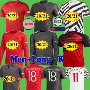 Manchester UTD 2020 2021 Estados jugador camiseta de fútbol antes del Partido van de Beek Cavani FERNANDES manga larga de las camisas del fútbol 20 21 niños hombre kit