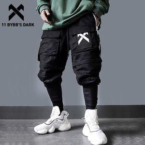 11 BYBB'S KOYU Ayrılabilir Çok Pocket Kargo Pantolon Erkekler Harajuku Hip Hop Streetwear Koşucular Man Elastik Bel Sweatpants Techwear 201116