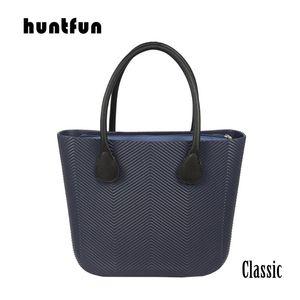 huntfun Classic Big EVA Bag Body with Wave Pattern Waterproof Insert Inner Pocket long leather Handles Women Handbag O bag