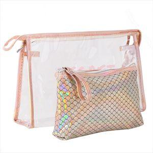 2PCs Mermaid Design Cosmetic Bags Waterproof PVC Wash Bag Women Travel Storage Bag Make Up Organizer Makeup Cases Beauty New