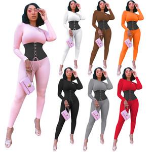 2020 Nova Mulheres manga comprida macacões moda painéis macacãozinho maior tamanho bodysuits magras macacão Casual 5793