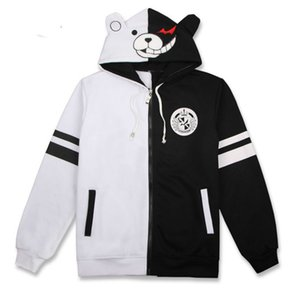 Merry Pretty Danganronpa Monokuma Cosplay Costume Unisex Hoodie Sweatshirt Women Hooded Pullovers Mens Casual black white hoody 201007