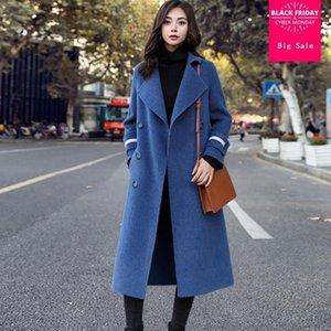 lana doppio cappotto sottile delle donne di inverno di lana breasted Windbreaker femminile lungo modo del manicotto di outwear elegante cappotto L1620